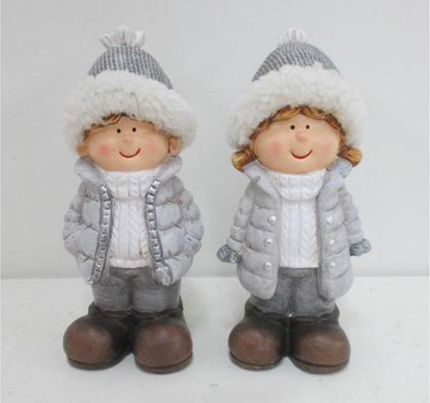 Keramická figurka děvčátko nebo chlapec 8x7x18cm šedá Provedení: Holka