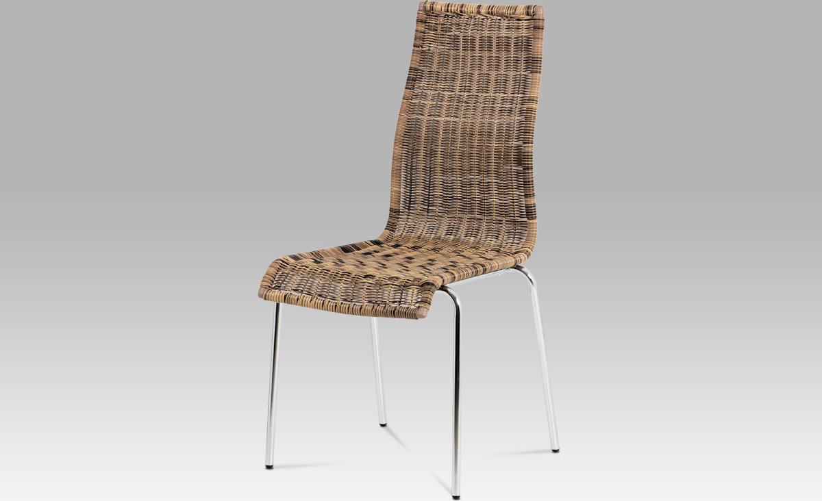 Jídelní židle chrom   UMĚLÝ ratan Melír