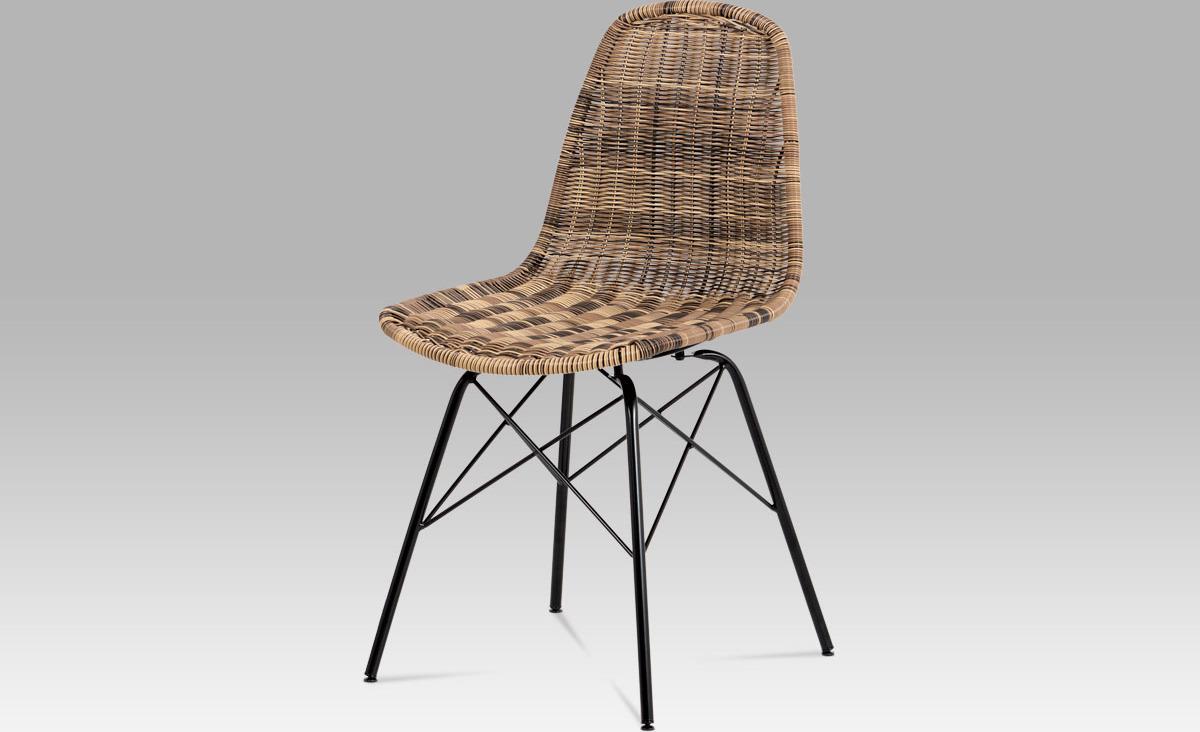Jídelní židle kov černá   UMĚLÝ ratan Barva: hnědá