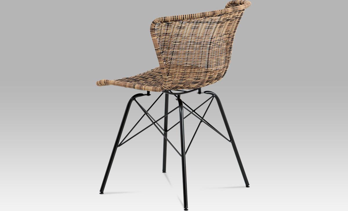 Jídelní židle kov černá   UMĚLÝ ratan   46x41x70x48cm Barva: hnědá