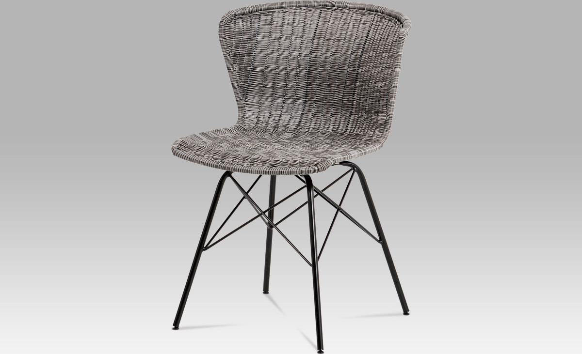Jídelní židle kov černá   UMĚLÝ ratan   46x41x70x48cm Barva: šedá