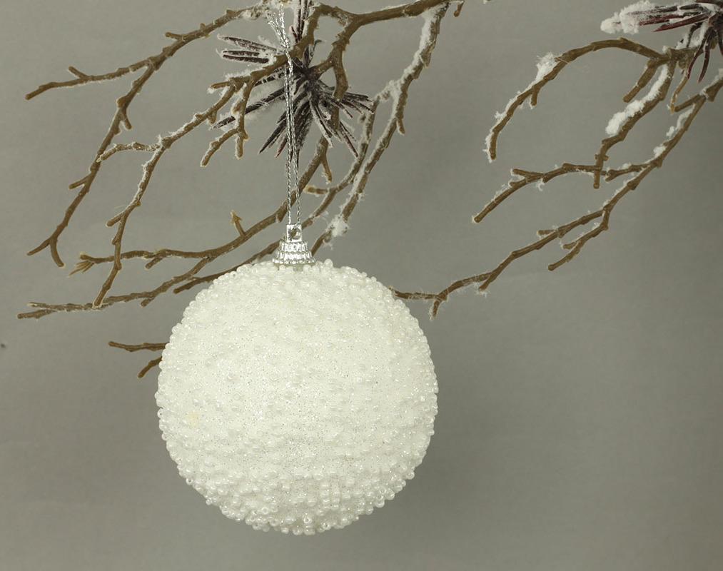Vánoční koule bíla s glitry Velikost: větší