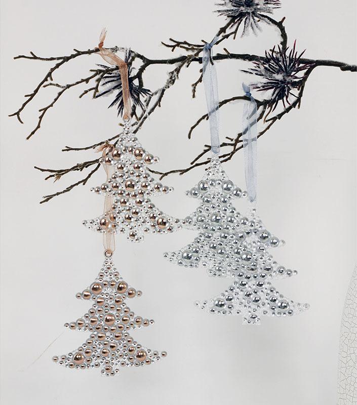 Dekorace závěsná strom plast set 2ks Barva: stříbrná