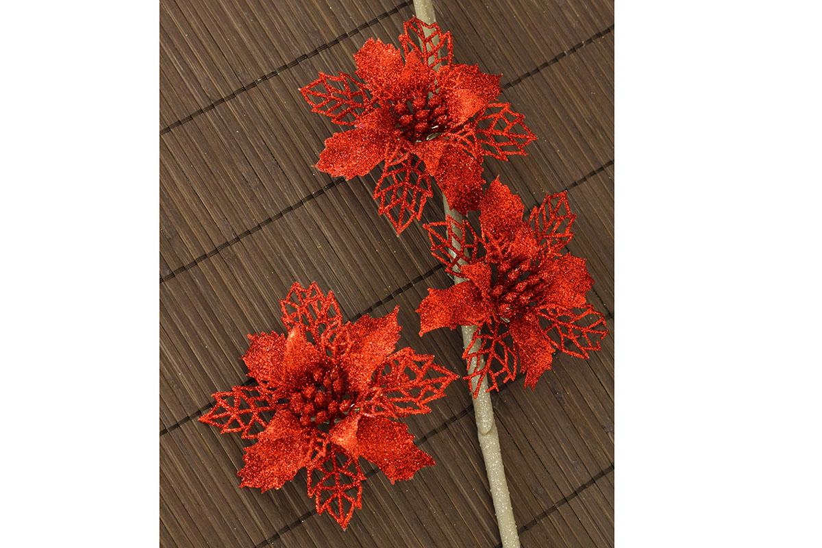 Artium Květina dekorační na klipu Barva: červená