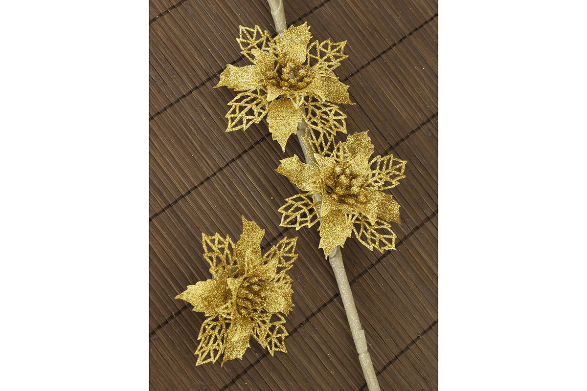 Artium Květina dekorační na klipu Barva: zlatá