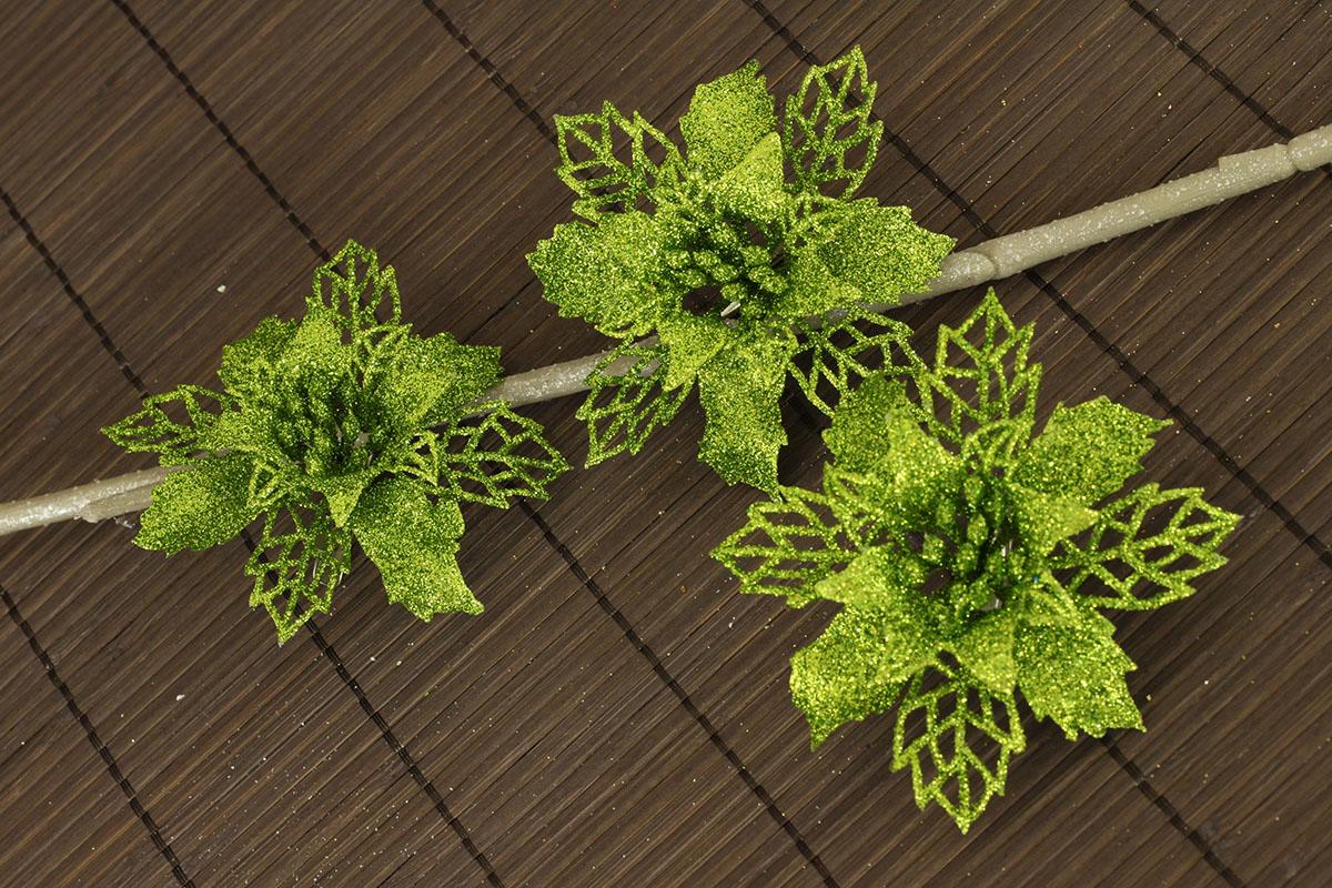 Artium Květina dekorační na klipu Barva: zelená