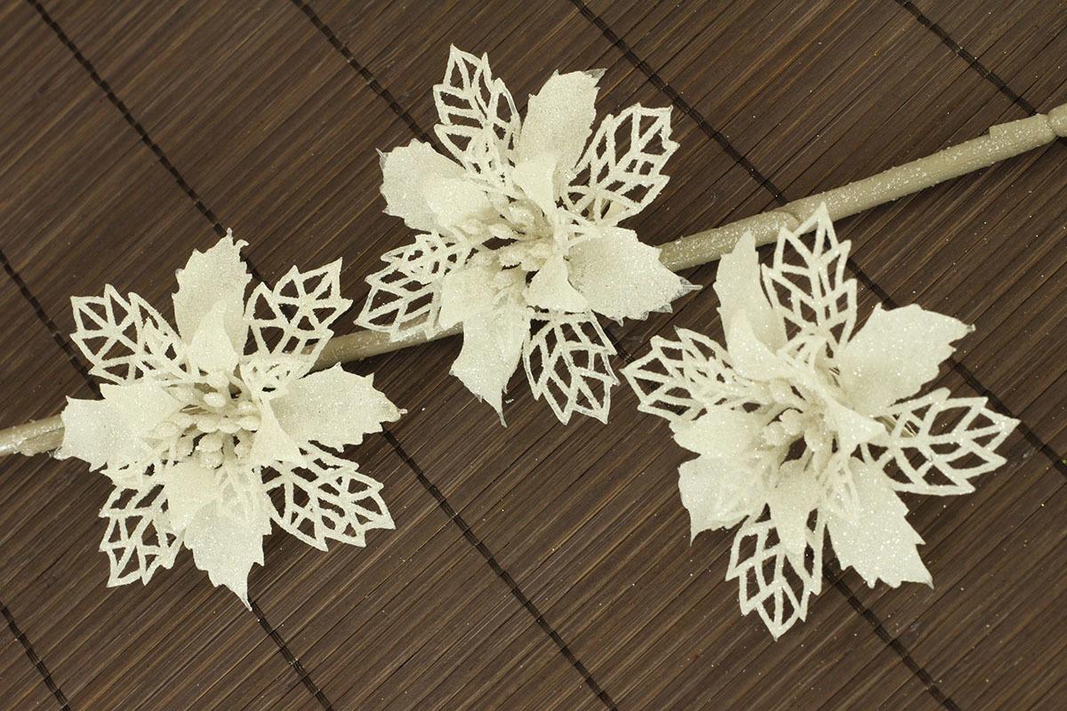 Artium Květina dekorační na klipu Barva: bílá