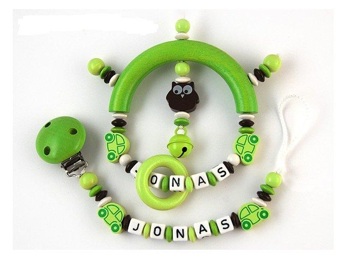 Sada - chrastítko se jménem a šňůrka, zeleno-hnědá kombinace, auta, sova