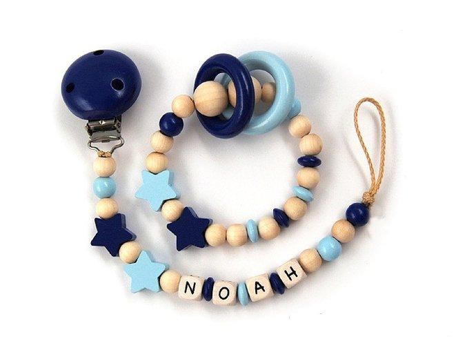 Sada - chrastítko se jménem a šňůrka, přírodní-modrá kombinace, hvězdičky