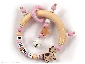 Veselé dudlíky Chrastítko se jménem, světle růžový půlkruh - koník