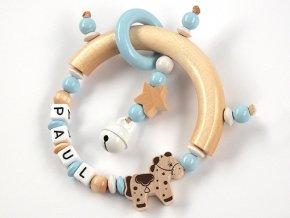 Veselé dudlíky chrastítko se jménem - přírodní půlkruh, koník, hvězdička