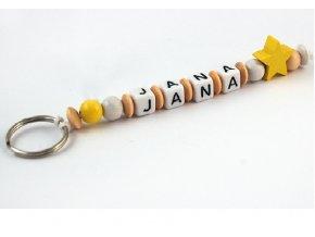 Přívěšek na klíče - žlutá hvězdička