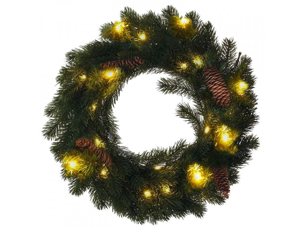 Solight vánoční věnec, průměr 40cm, 15x LED, IP44, 3x AA, časovač