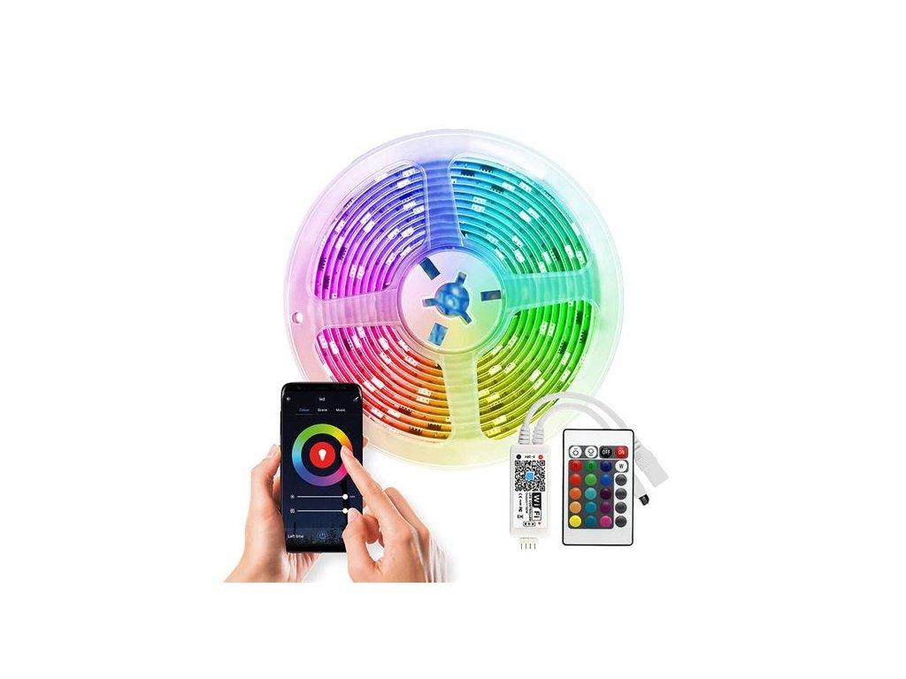 Solight Wifi Smart LED světelný pás, RGB, 5m, sada s 12V adaptérem a dálk. ovladačem, 7,2W