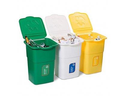 Koš DEAhome Eco 3 x 50l, zelený - žlutý - bílý na recyklaci odpadu