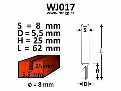 Fréza do dřeva - D5,5, H25, L60, S8mm