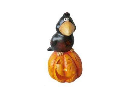 Dýně Halloween s havranem dekorace, na svíčku,  keramika, 22 cm