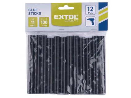 Tyčinky tavné, černá barva, pr.11x100mm, 12ks Extol Craft
