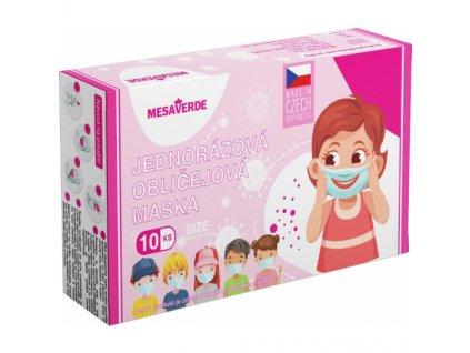 Ochranná rouška 3 vrstvá Kids Girl, výroba CZ, 10 ks, Mesaverde