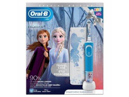 Dětský elektrický zubní kartáček ORAL-B Kids Frozen Vitality D100, cestovní pouzdro