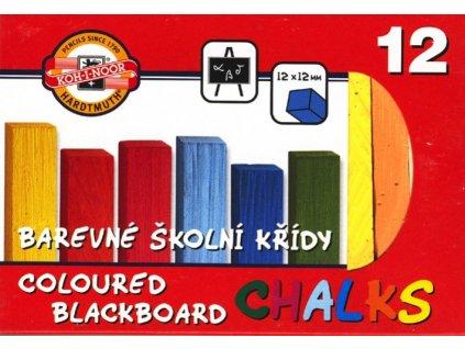 Křída školní barevná 12ks/bal. v krabičce, KOH-I-NOOR 112 506