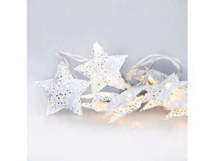Solight LED vánoční řetěz hvězdy, kovové, bílé, 10LED, 1m, 2x AA, IP20