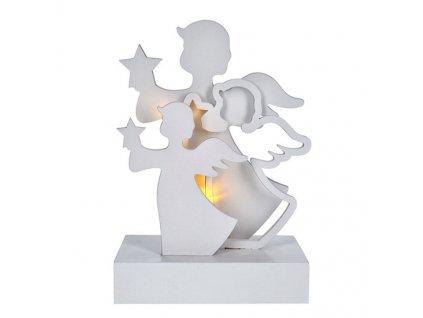 Solight LED vánoční andělé, dřevěný stojan, bílá barva, 2xAA