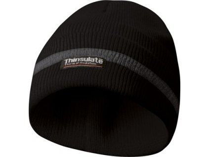 Zimní reflexní čepice, materiál THINSULATE - černá