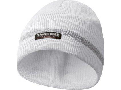 Zimní reflexní čepice, materiál THINSULATE - bílá
