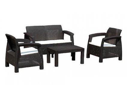 Set terasový ANTIGUA Mocca/béžová, stůl, křeslo, dvoumístná pohovka