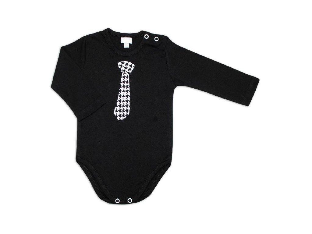 116969 199262 g baby kojenecke body dlouhy rukav kravata cerne