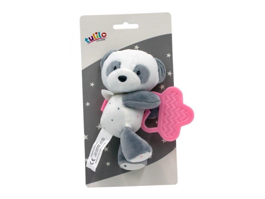 121382 207568 tulilo plysova hracka s kousatkem medvidek panda 15 cm ruzovy