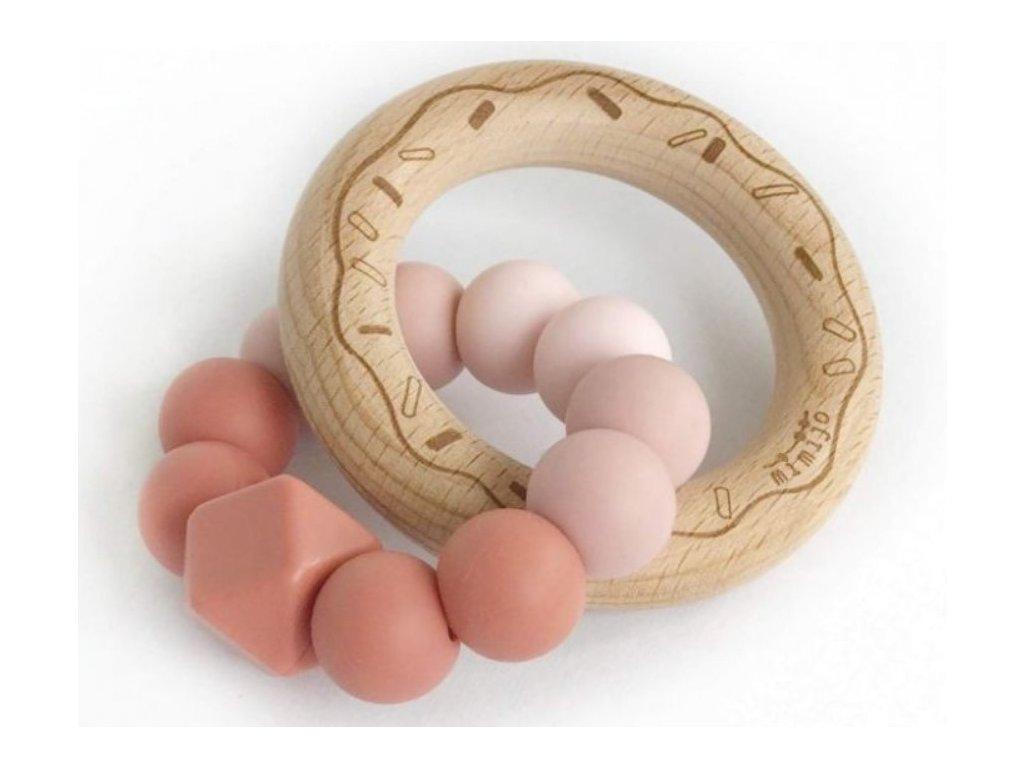 121740 208135 mimijo silikonove kousatko donut scarlett ruzove pudrove