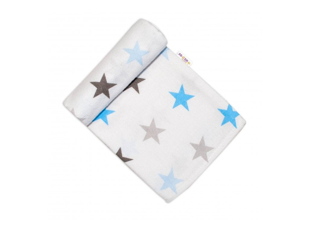 117342 200074 baby nellys flanelova plenka 70x80 cm hvezdicky modra seda