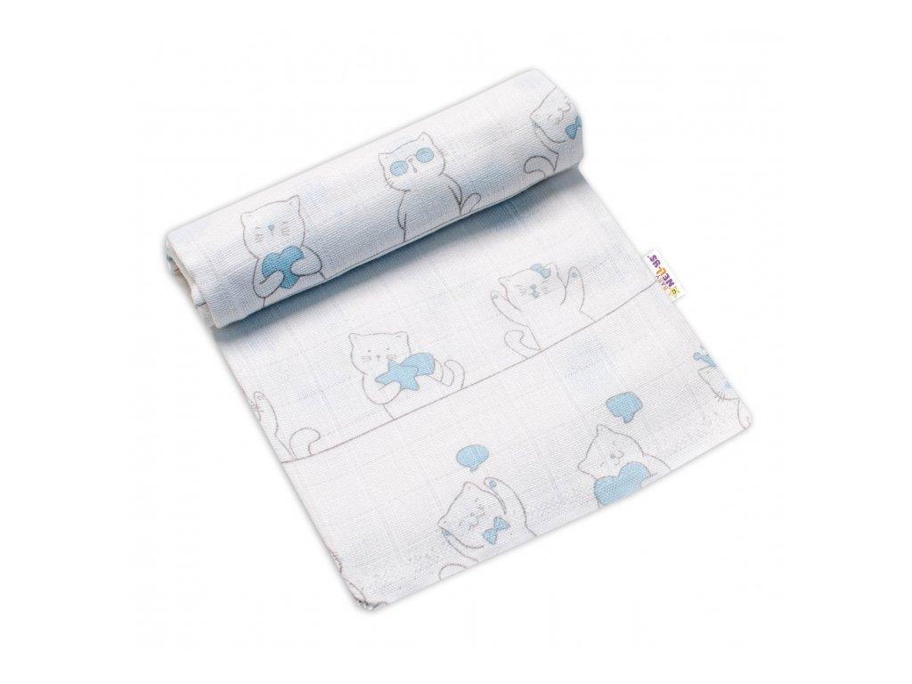 123547 212518 baby nellys kvalitni bavlnena plenka tetra premium 70x80cm kocour elegan modra