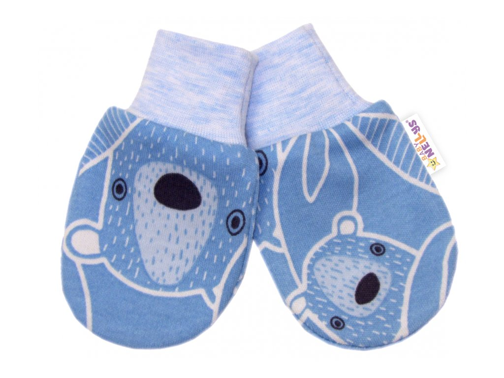 116178 200911 baby nellys kojenecke rukavicky medvidek modre