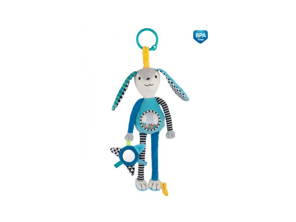 100658 168574 zavesna plysova hracka se zrcatkem a chrastitkem modra