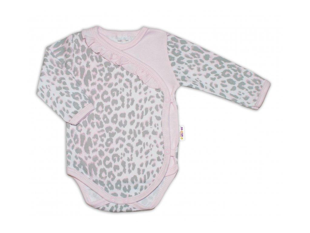 109260 185563 baby nellys body dl rukav zap bokem gepardik sedo ruzovy vel 62