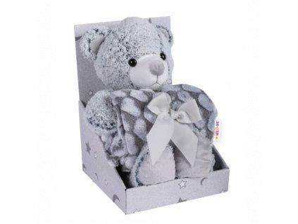 116422 198435 baby nellys detska sada deka plysova hracka medvidek seda 489x489