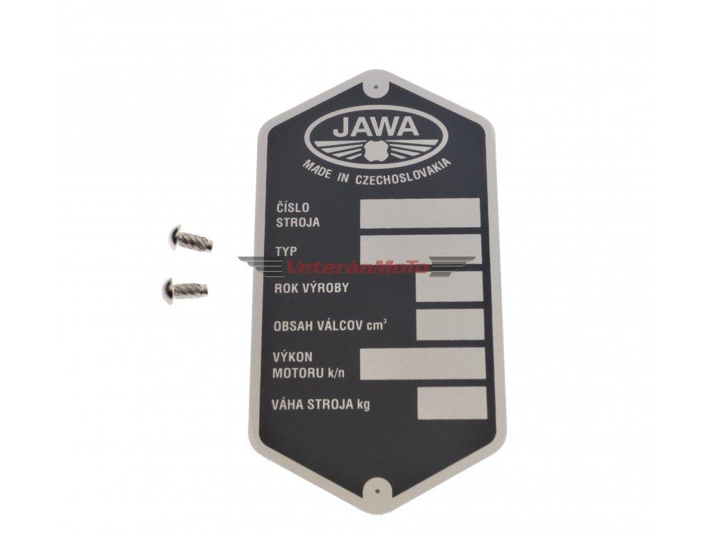 Štítek výrobní - rámu s nýty - tištěný JAWA 50 PIONÝR 550, 555, 05, 20, 21