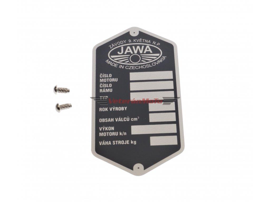 Štítek výrobní - rámu s nýty - tištěný JAWA PANELKA