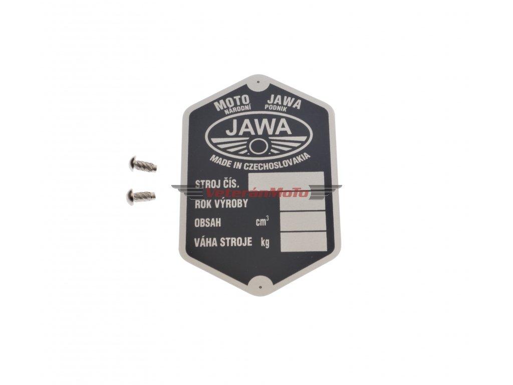 Štítek výrobní - rámu s nýty - tištěný JAWA PÉRÁK - Národní podnik