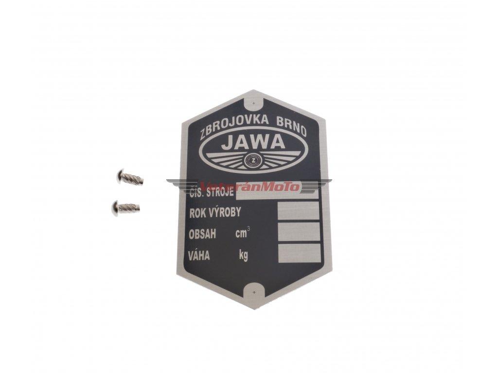 Štítek výrobní - rámu s nýty - tištěný JAWA PÉRÁK - Zbrojovka