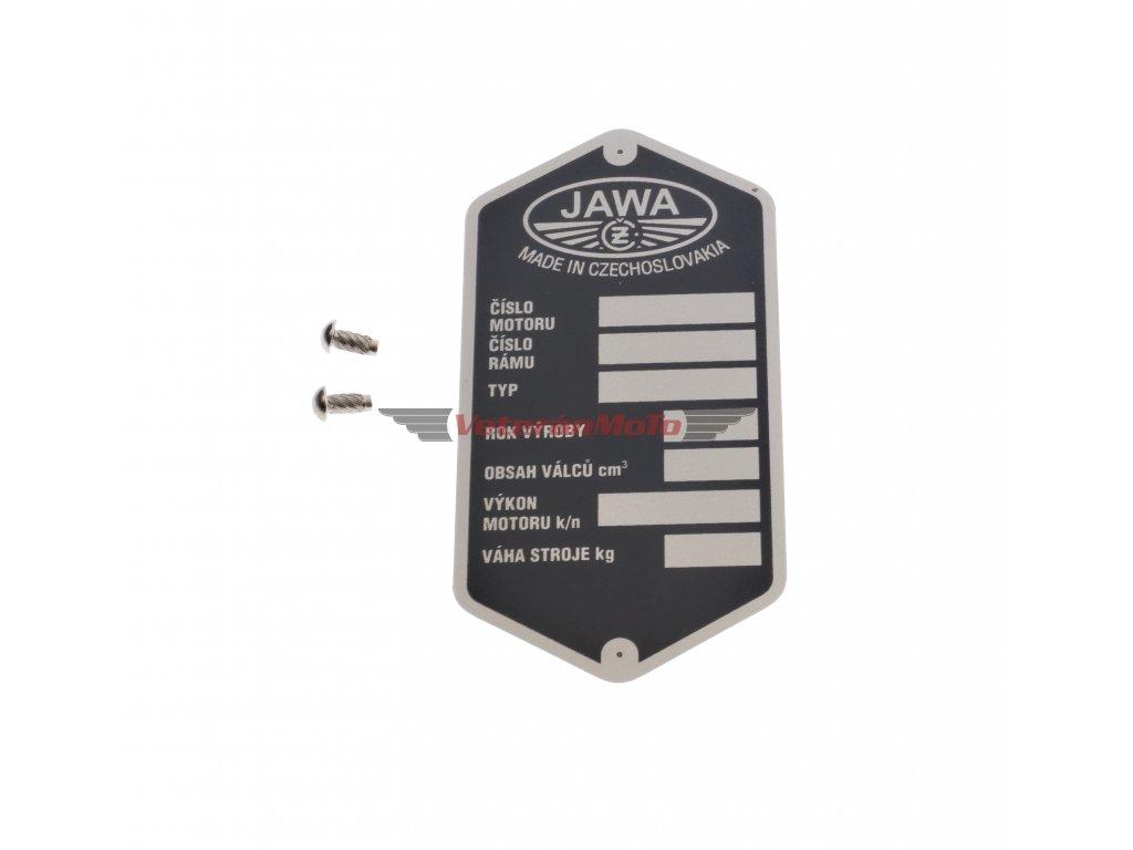 Štítek výrobní - rámu s nýty - tištěný JAWA, ČZ 250/350