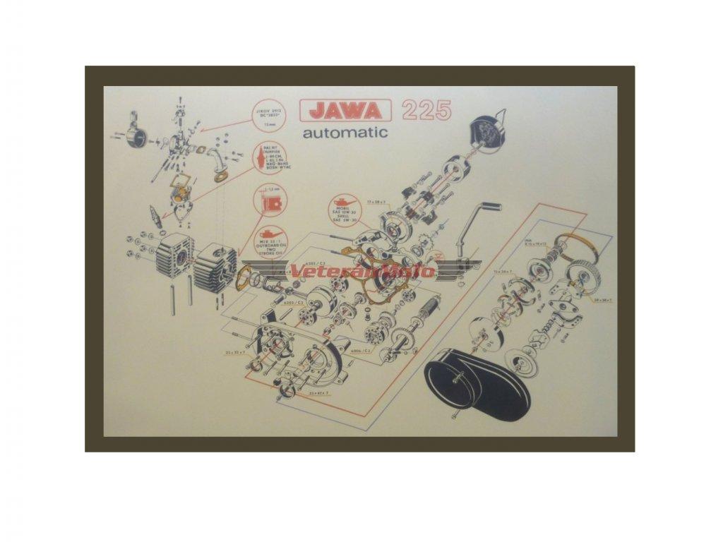 Plakát motoru - řez BABETTA 225
