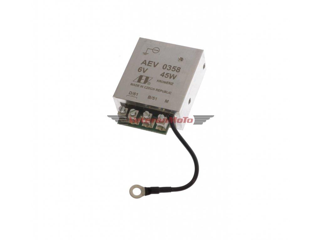 Elektronický regulátor AEV 6V 45W dynama s pólem - včetně schéma zapojení - nahrazuje mechanický regulátor - Česká výroba KROMĚŘÍŽ