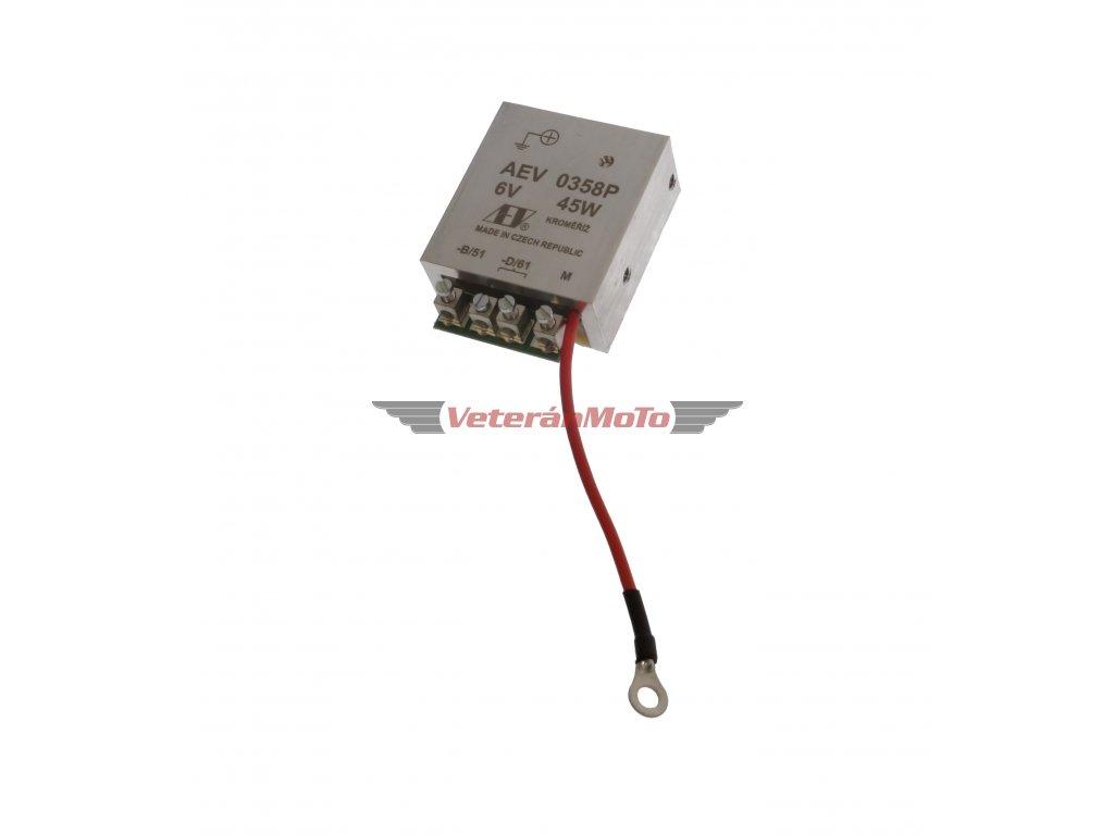 Elektronický regulátor AEV 6V 45W dynama s pólem + včetně schéma zapojení - nahrazuje mechanický regulátor - Česká výroba KROMĚŘÍŽ