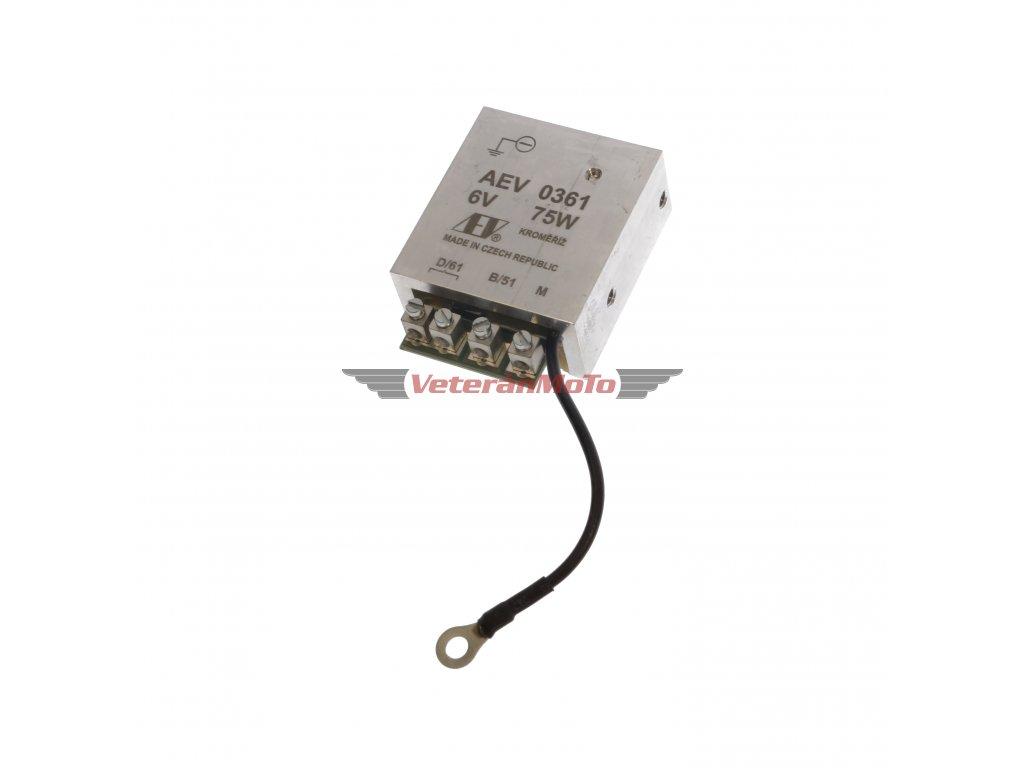 Elektronický regulátor AEV 6V 75W dynama s pólem - včetně schéma zapojení - nahrazuje mechanický regulátor - Česká výroba KROMĚŘÍŽ