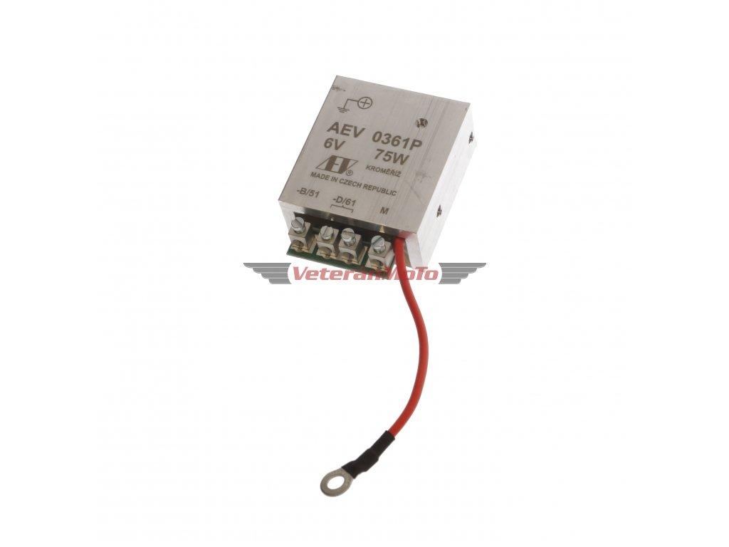 Elektronický regulátor AEV 6V 75W dynama s pólem + včetně schéma zapojení - nahrazuje mechanický regulátor - Česká výroba KROMĚŘÍŽ