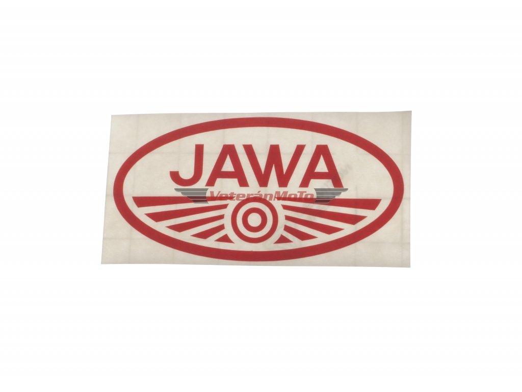 Nálepka / samolepka JAWA červená oválná 100x50mm